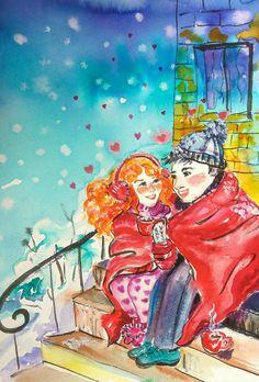 Love and Coffee original watercolor St Valentine's от orangerinka