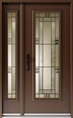 Vitraux - portes extérieures - Imola #484 Craftsman Front Doors, Wood Front Doors, Glass Front Door, Modern Exterior Doors, Exterior Front Doors, Entry Doors, Door Gate Design, Wooden Door Design, Glass Door Coverings