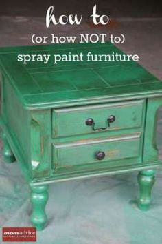 How to Spray Paint Furniture- I love the idea of using a glaze to create a distressed look over the spray paint!