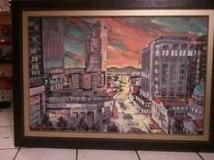 Downtown Tucson at Sunset- $545 24x36 osd #lisakanouseart http://lisakanouse.wordpress.com