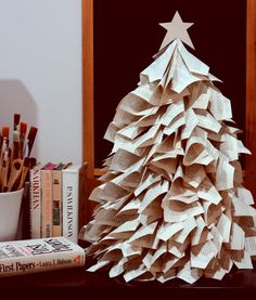 Christmas Tree made out of old book pages