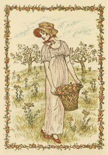 Vintage Art by Kate Greenaway in Public Domain ~ Lady carrying a basket of flowers