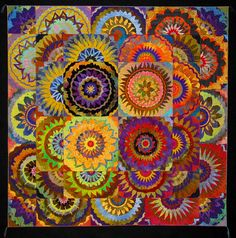 FLORAL ARRANGEMENT by Sue Benner.  This is a quilt. Holy, moly! I think it would be easier to paint than to quilt!