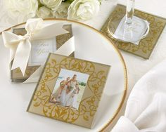 """Golden Brocade Elegant Glass Photo Coasters - You can place a photo of the ultrasound or a cute """"Thank You"""" card inside in Pink"""