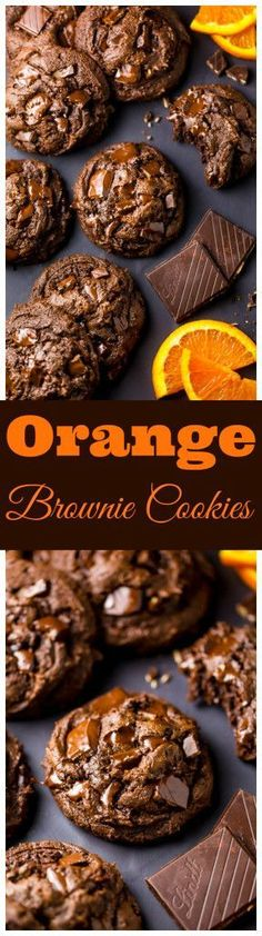 Gooey Chocolate Orange Brownie Cookies are insanely decadent and delicious!!! #EverythingOrange