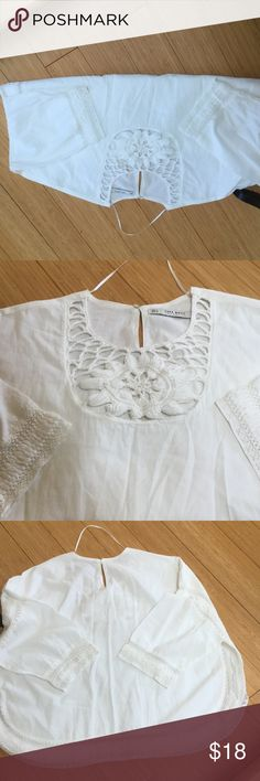 Zara blouse Gently used Zara blouse.  Great for spring. Small mark on left sleeve seen in photo.  Barely noticeable. Zara Tops Blouses