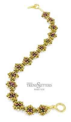 Free Tutorial: Demetria Bracelet pattern by Marie New | TOHO Demi Round Bead Size 8 Size 11