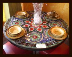 mosaic table with plates   www.furthurla.com