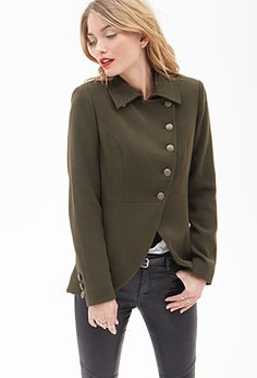 I love this Tulip Front Coat from Forever 21 UK, perfect length and colour. Add to mental wishlist, check High Street Fashion, Blazers For Women, Coats For Women, Clothes For Women, Outerwear Women, Outerwear Jackets, Olive Jacket, Forever 21, Cute Jackets