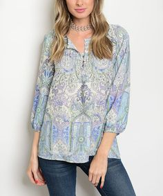 Love this Ivory & Lilac Paisley Notch Neck Tunic on #zulily! #zulilyfinds