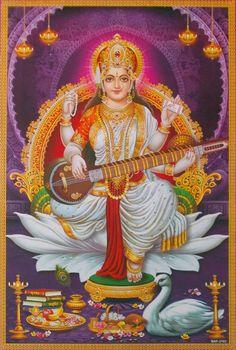 Goddess Saraswathi is the Hindu goddess of education, music, arts, knowledge and learning. Find a good collection of Goddess Saraswati images & wallpapers. Saraswati Mata, Saraswati Goddess, Lakshmi Photos, Lakshmi Images, Shiva Art, Shiva Shakti, Hindus, Saraswati Picture, Saraswathi Pooja