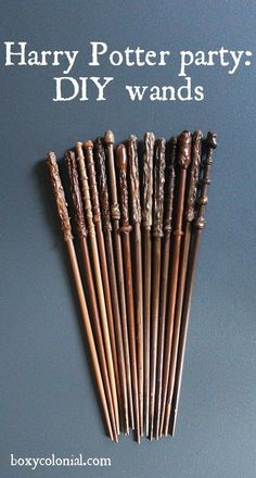 Tutorial to make these diy wands for your Harry Potter party, Chopsticks and Hot Glue Gun