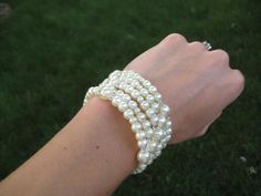 Swarovski Crystal and Pearl Cuff Bracelet Wedding by ABbling, $32.50