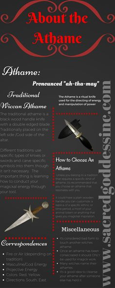 Wicca for Beginners - Athame Correspondences & Other Info.  Follow us for more great infographs.  Click the pic to visit our website.
