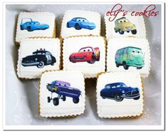 Disney Cars cookies made with edible cupcake toppers. So cute!