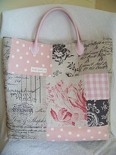 tote bag, patchwork, soft colors