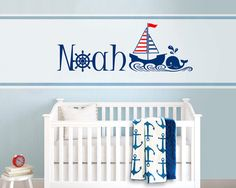 Nautical Sail Boat, Whale Themed Personalized, Custom Name, Vinyl Wall Decal Sticker for Nursery or Boy's Room