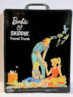 1960's trunk with exceptionally detailed graphics is a hard to find vintage vinyl treasure. It features a Ponytail Swirl Barbie wearing Scoop Neck Playsuit, Ken wearing Dreamboat, and Skipper wearing Fun Time. All three are enjoying a huge picnic - watermelon, cake, stuffed deviled eggs, sandwiches, pickles, lemonade, and soda pop