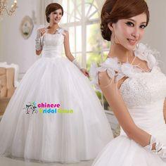 Style 8076, Nice Organza Ball Gown Sleeveless Chinese Wedding Dress by CBG.