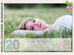 Printable Glitter Photo High School or College Graduation Invitation / Announcement. $12.00, via Etsy.