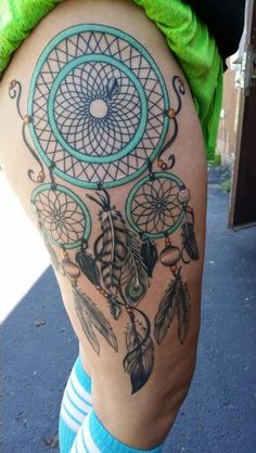 Dream Catcher Tattoo On Thigh Simple 36 Meaningful Dreamcatcher Tattoo Designs  Pinterest  Thigh Tat Design Decoration