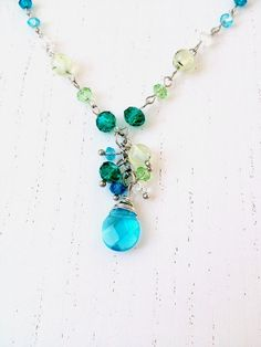 Necklace with glass and gemstone beads - wire wrapped