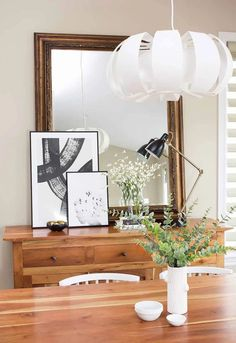 Modern black and white decor for the dining room.