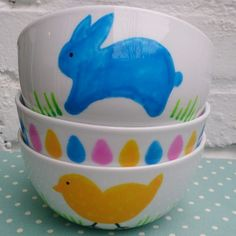 Easter bowls for Lucy's kids - hand decorated using porceluin paint pens.