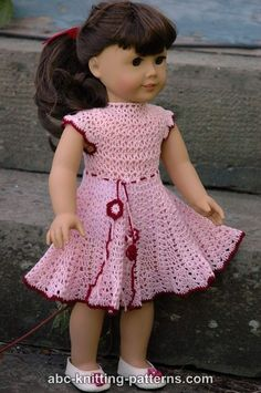 ABC Knitting Patterns - American Girl Doll Apple Blossom Dress