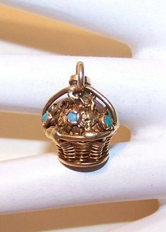 "ANTIQUE VICTORIAN 14K Gold & Turquoise ""Basket of Flowers"" Charm.."