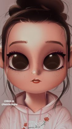 Girl Wallpaper- Wanessa -Pasta-Wallpaper - Wallpaper World Cute Girl Drawing, Cartoon Girl Drawing, Cartoon Drawings, Cartoon Art, Kawaii Drawings, Cute Drawings, Cartoon Mignon, Cute Cartoon Girl, Cute Eyes