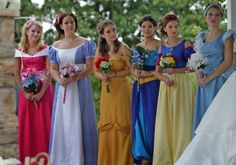 Disney Princess bridesmaids this would be soo easy and soo cool!!!