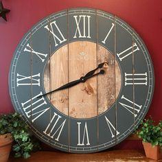 32 Inch Rustic Wall Clock - Large Wooden Clock - Distressed Clock - Farmhouse Clock - Handcrafted Clock- Rustic Decor