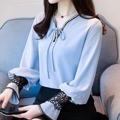 Spring fashion Sexy V-Neck shirt lace hollow out basic shirts women OL Career formal long sleeve chiffon blouse work ladies tops Korean Fashion Summer, Korean Fashion Trends, Korean Summer, Korea Fashion, Spring Fashion, Korean Blouse, Iranian Women Fashion, Sleeves Designs For Dresses, Hijab Style