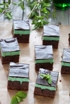 Done really well, these will always be my favourite type of Brownies (due to the amazing ones my mom made every year at Christmas when I was growing up): Mint Brownies. #food #mint #brownies #dessert #green