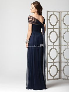 impression dark blue floor length sheath draped stretch tulle bridesmaid dress with natural waist
