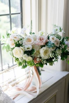 A classic summer wedding at Casa Loma in Toronto with an elegant reception in a greenhouse space. Romantic Wedding Flowers, White Wedding Bouquets, Wedding Flower Inspiration, Wedding Flower Arrangements, Bride Bouquets, Bridal Flowers, Bridesmaid Bouquet, Floral Wedding, Floral Arrangements