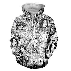 Ahegao Face Anime 3D Print Mens Womens Hooded Sweatshirt Pullover Jumper Hoodie