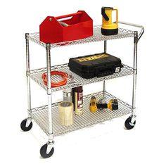 Rolling Utility Cart 3-Shelf Wire Shelves Metal Kitchen Office Heavy-Duty Wheels #Seville