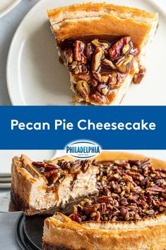 Thanksgiving Desserts, Holiday Desserts, Holiday Baking, Just Desserts, Holiday Recipes, Delicious Desserts, Yummy Food, Pecan Pie Cheesecake, Homemade Cheesecake