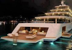 yacht back deck at night