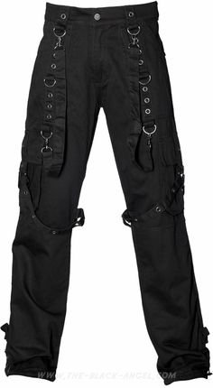 Gothic cargo pants with bondage straps, from the Queen of Darkness line of men's clothing.