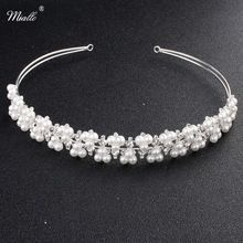 Miallo Fashion Imitation Pearls Tiaras and Crowns Austrian Crystal Hair Jewelry Wedding Bride Accessories Women Hairpieces(China)