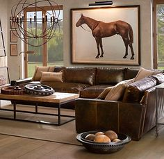 Living Room colors, leather couch, rustic table, light burlap pillows