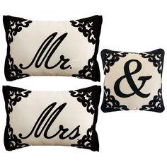 Black Script Monogram Pillows - Mr. & Mrs. | Pier 1 Imports