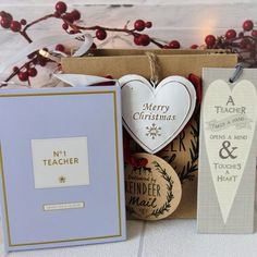 For only the best teachers this Christmas Just perfect this selection of gifts comes in a gift bag there is a beautiful bookmark with perfect words a Christmas Gift Sets, Merry Christmas, Scented Sachets, Perfect Word, Hanging Hearts, Best Teacher, First Love, Just For You, Place Card Holders