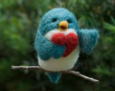 Needle Felted Bird Ornament - Singing with Heart
