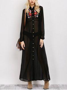 Embroidered Sheer Maxi Shirt Dress - BLACK M