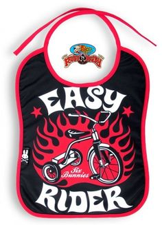 Give your baby a tough biker look with this Easy Rider Bib by Six Bunnies at http://www.ruffnready.com.au/ #RuffnReady #biker #kids #bib #SixBunnies #rockabilly #kidsclothing