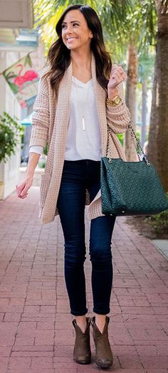 Stone Knit Cardigan Fall Street Style Inspo by Sequins & Things